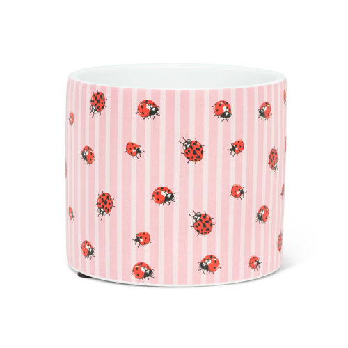 Abbott Decor Small Ladybug and Stripe Pot