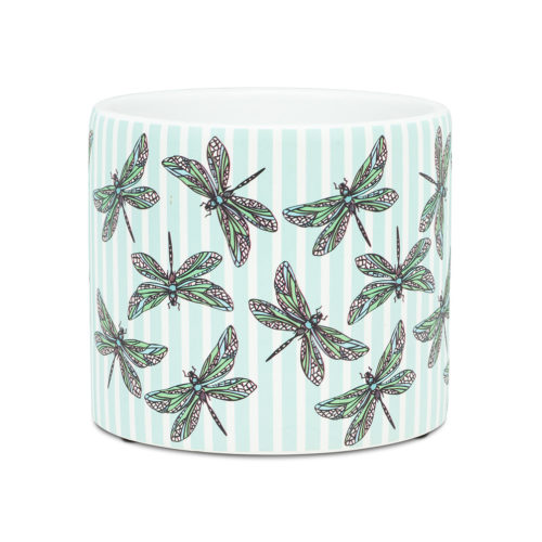 Abbott Decor Small Dragonfly and Stripe Pot